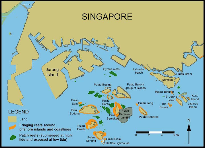 Singapore Islands Map Coral Reefs of Singapore